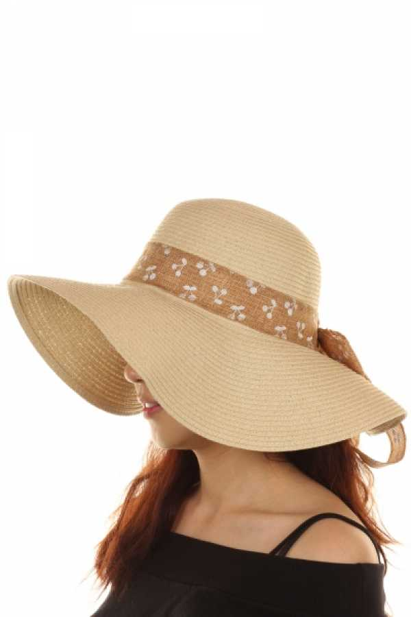 WOMEN  FLOPPY HAT WITH RIBBON