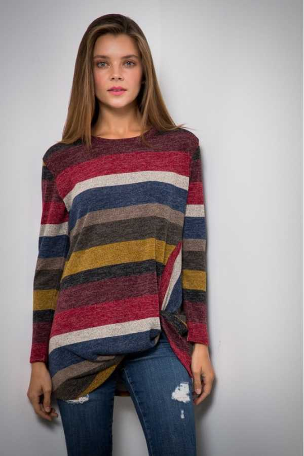 PLUS SIZE KNOTTED HEM LONG SLEEVE STRIPED KNIT TOP