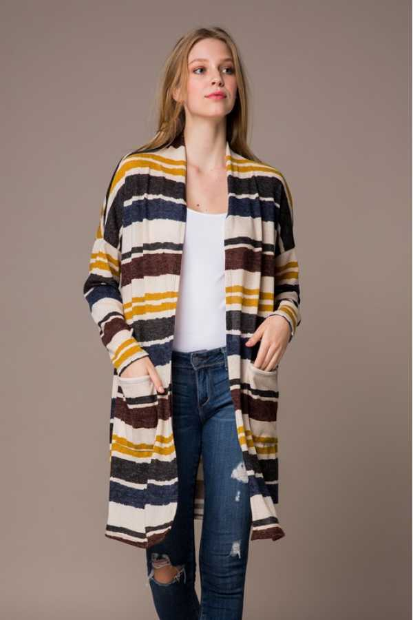 PLUS SIZE MULTI STRIPED OPEN CARDIGAN WITH POCKETS