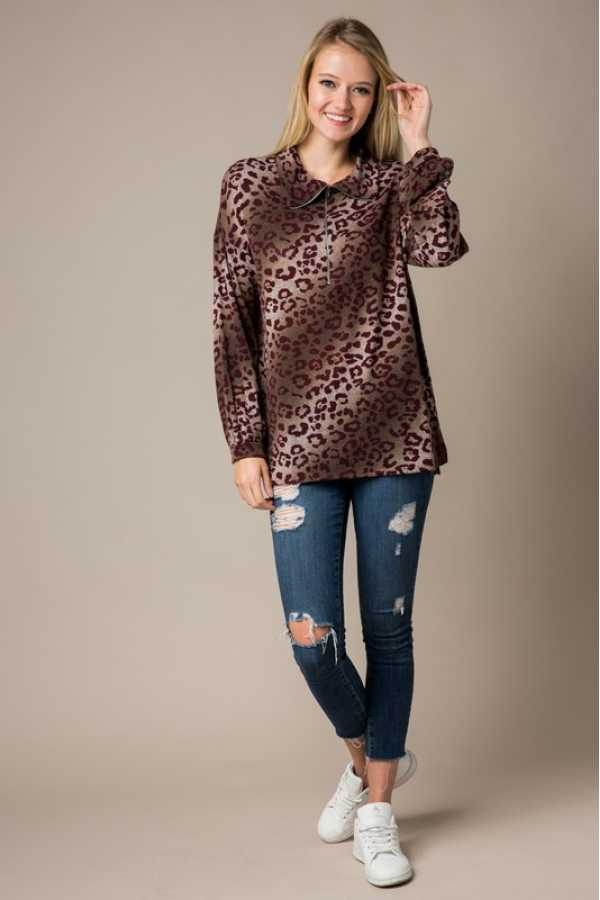 LONG SLEEVE OMBRE LEOPARD PRINT TUNIC TOP
