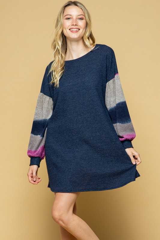 PLUS SIZE-COLOR BLOCK SLEEVE CONTRAST DRESS