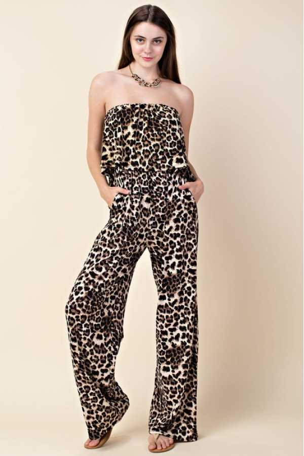 PLUS SIZE-LEOPARD PRINT ROMPERS WITH POCKETS