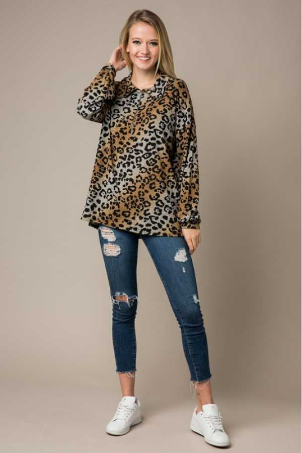 PLUS SIZE LONG SLEEVE OMBRE LEOPARD PRINT TUNIC TOP