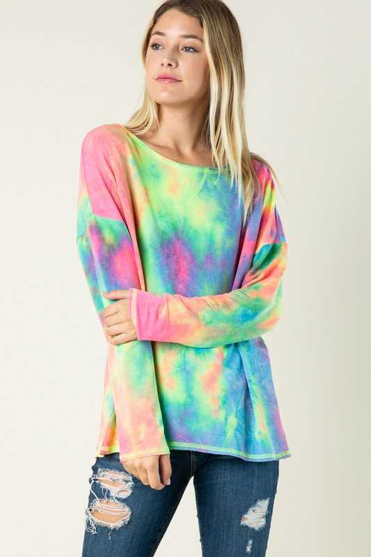 PLUS SIZE-LOOSE FIT TIE DYE PRINT TUNIC TOP