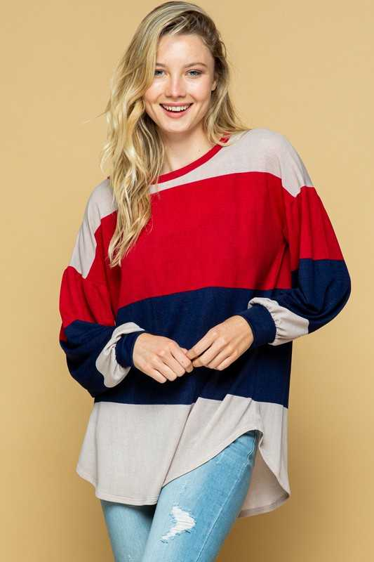 LOOSE FIT COLOR BLOCK TUNIC TOP