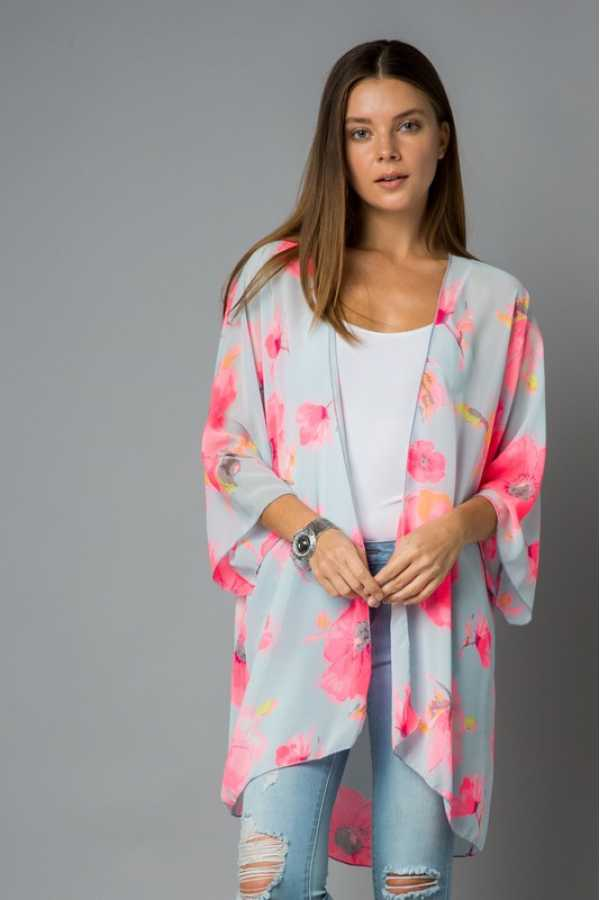 PLUS SIZE-LOOSE FIT FLORAL PRINT WOVEN CARDIGAN