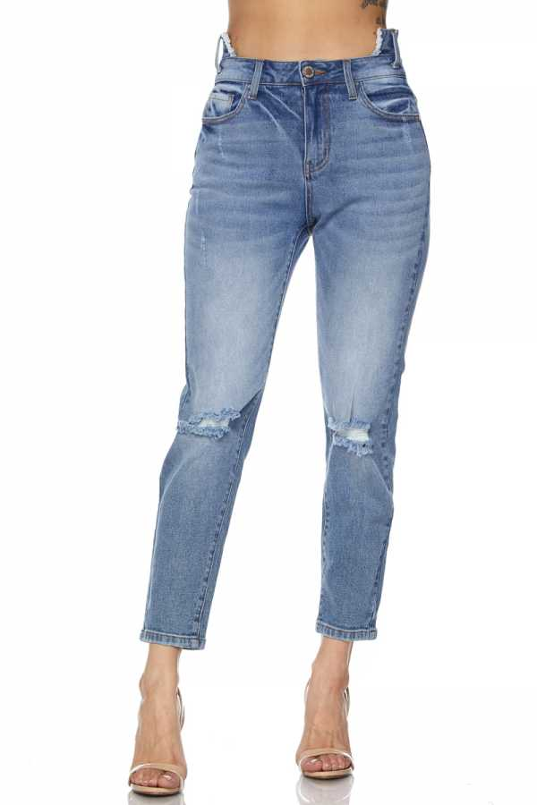 PLUS SIZE RIPPED DENIM PANTS