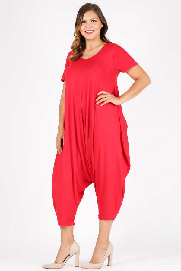 PLUS SIZE SOLID HAREM JUMPSUIT