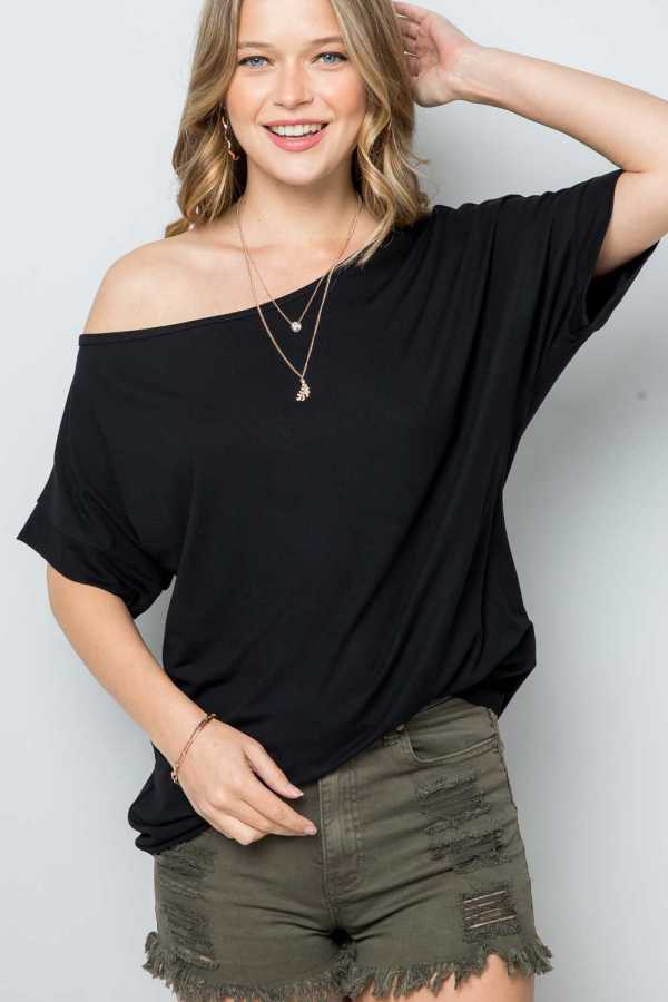 SOLID ONE SHOULDER BOXY TOP