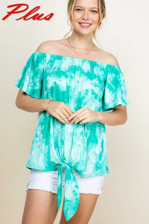 PLUS SIZE-TIE DYE PRINT FRONT TIE BOTTOM TOP