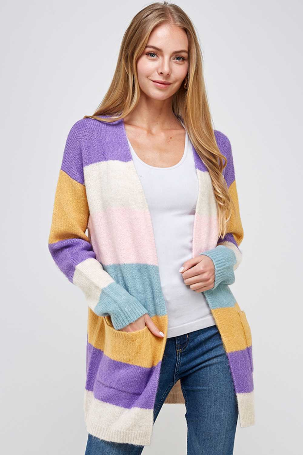 COLOR BLOCK OPEN KNIT CARDIGAN