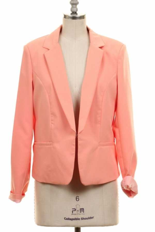 ROLL-UP SLEEVE CLIP ON BLAZER WITH LINING