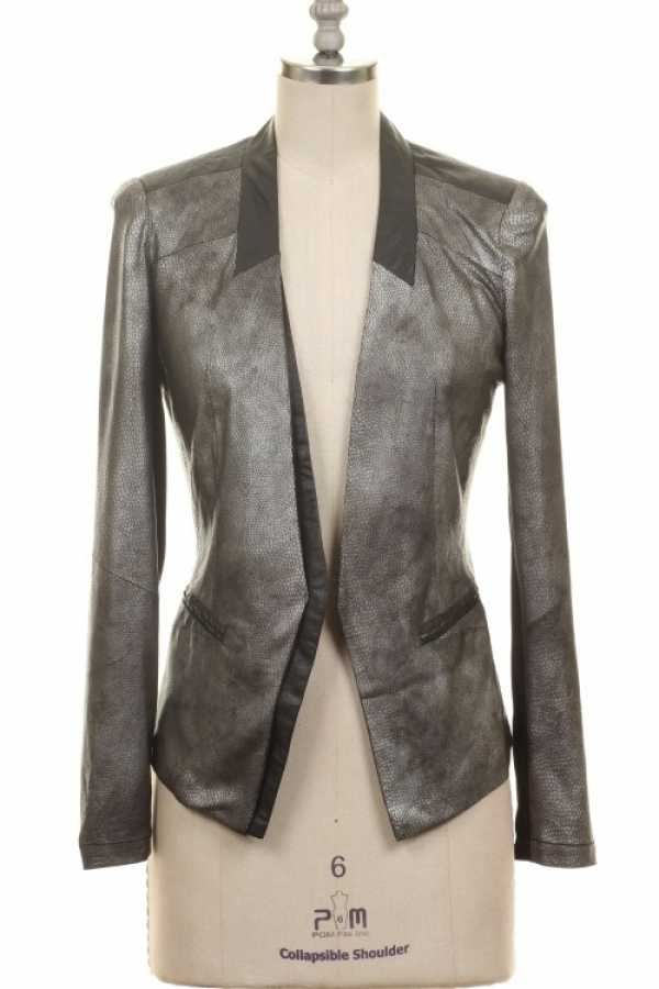 FAUX SNAKESKIN LEATHER CONTRAST BLAZER WITH LINING