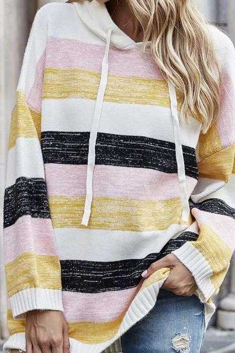 OCT 25 PRE ORDER STRIPE KNIT HOODIE TUNIC TOP