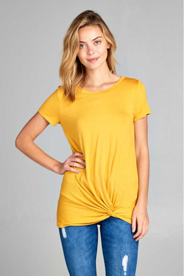 TWISTED HEM SOLID SHORT SLEEVE TUNIC TOP