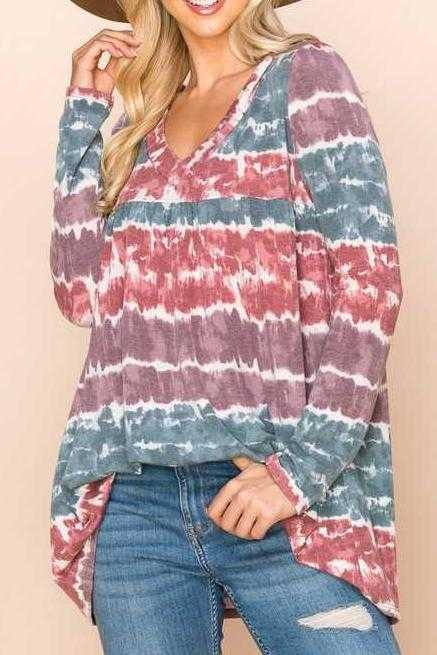 PLUS SIZE-LOOSE FIT HOODIE TUNIC TOP