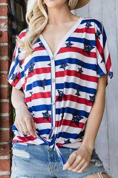 STAR STRIPE PRINT TOP