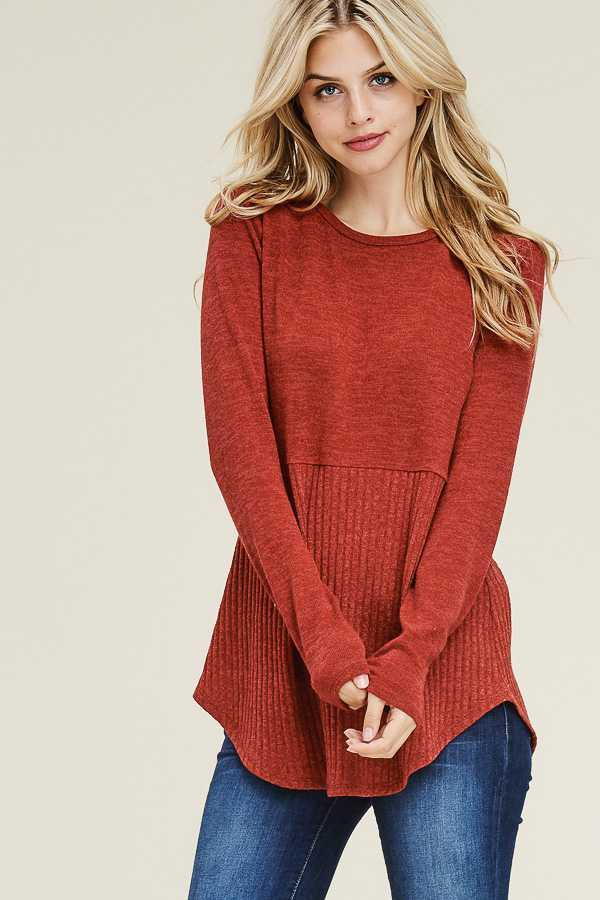 SOLID RIBBED SWEATER TOP