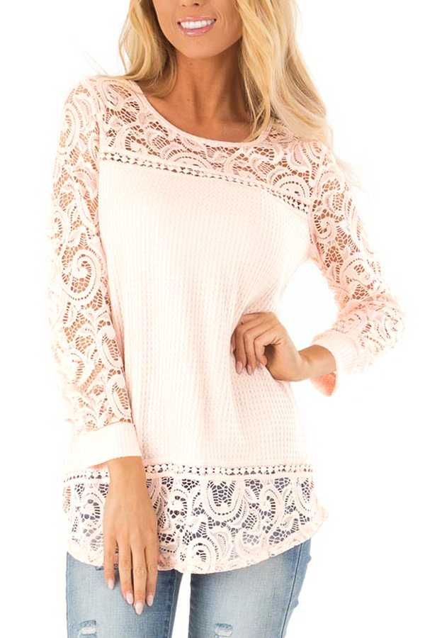 FEB 28 PRE ORDER EXTRA PLUS SIZE LACE CONTRAST LONG SLEEVE TOP