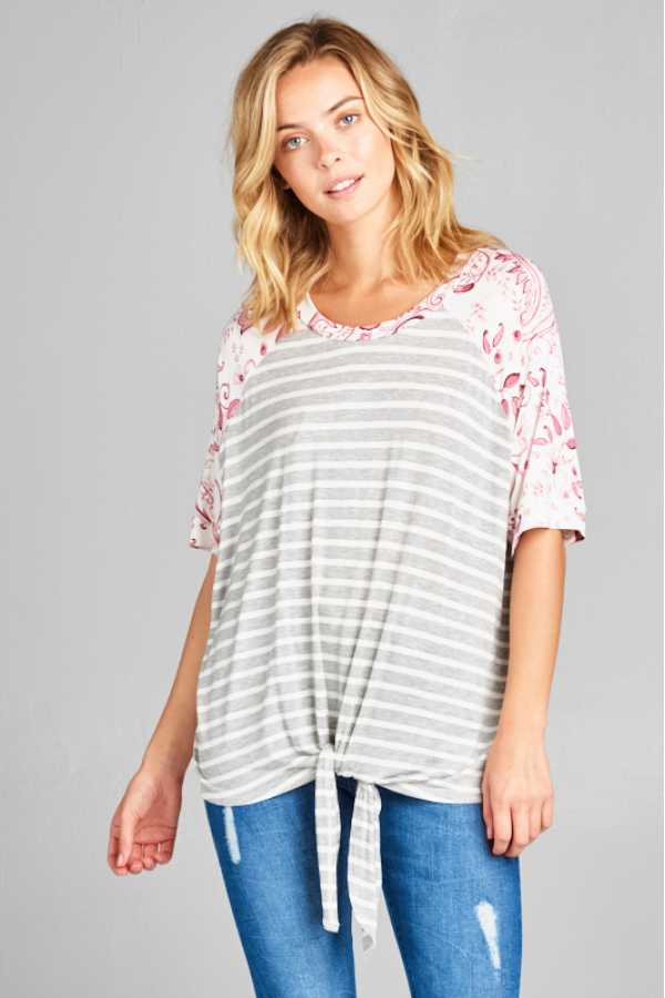 KNOTTED HEM STRIPED PAISLEY PRINT TUNIC TOP