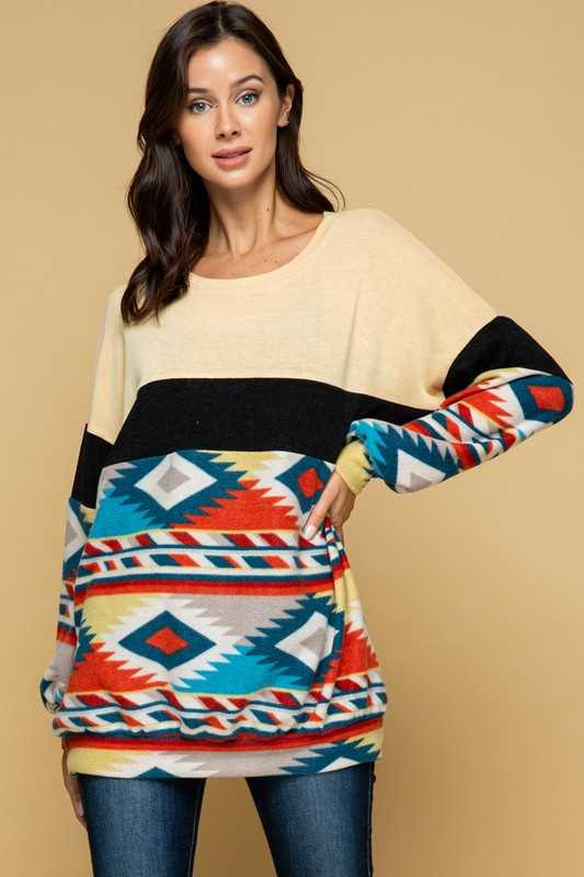 COZEY TRIBAL KNIT TUNIC TOP