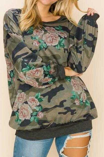 PLUS SIZE-CAMOUFLAGE PRINT TUNIC TOP