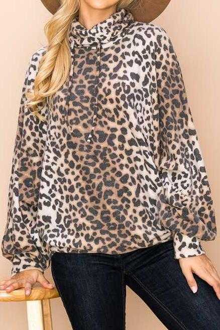 PULL OVER ANIMAL PRINT COWL NECK TUNIC TOP