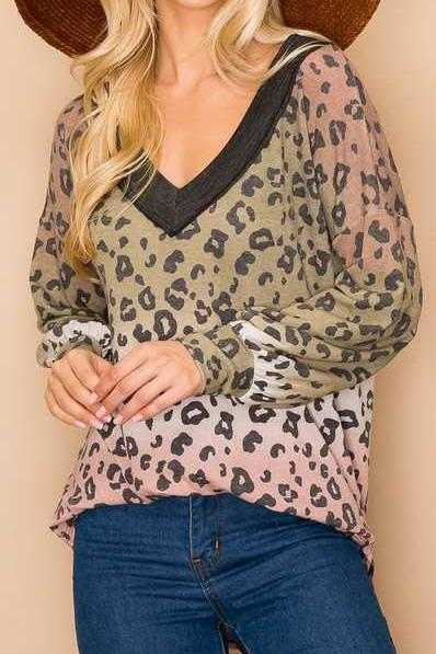 V NECK ANIMAL PRINT TUNIC TOP