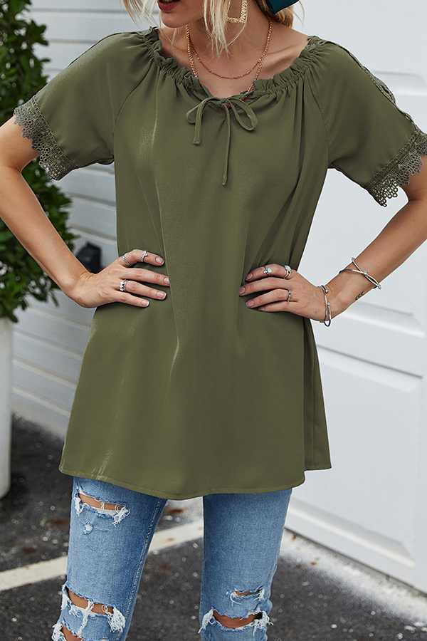 JUN 29 PRE ORDER PLUS SIZE-LACE DETAIL TUNIC TOP