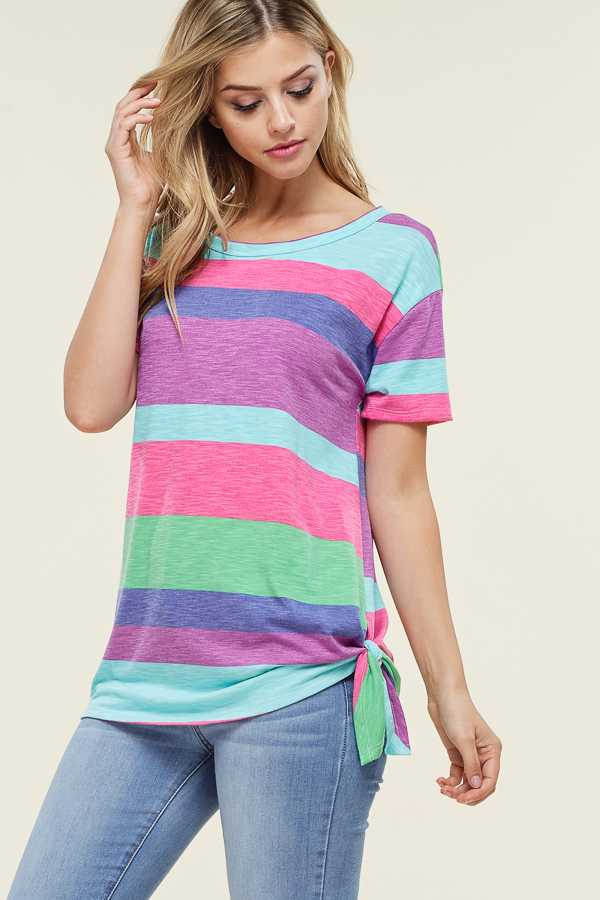 STRIPE LOOSE TIE HEM TOP