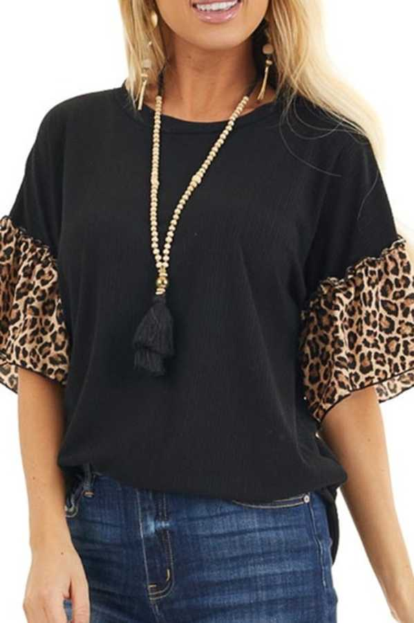 JUN 29 PRE ORDER LEOPARD SLEEVE TUNIC TOP