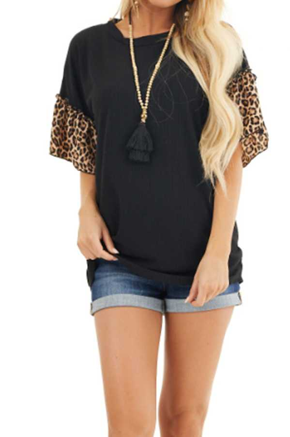 JUN 29 PRE ORDER PLUS SIZE  LEOPARD SLEEVE TUNIC TOP