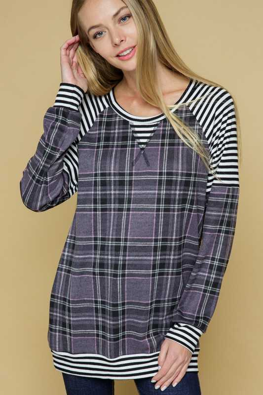 PLAID CONTRAST TUNIC TOP