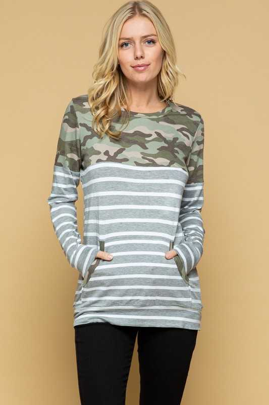 PLUS SIZE STRIPED CAMOUFLAGE PRINT CONTRAST TOP W POCKETS