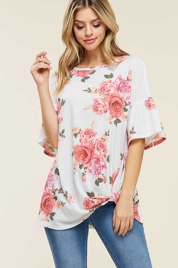 FLORAL TWISTED HEM TUNIC TOP