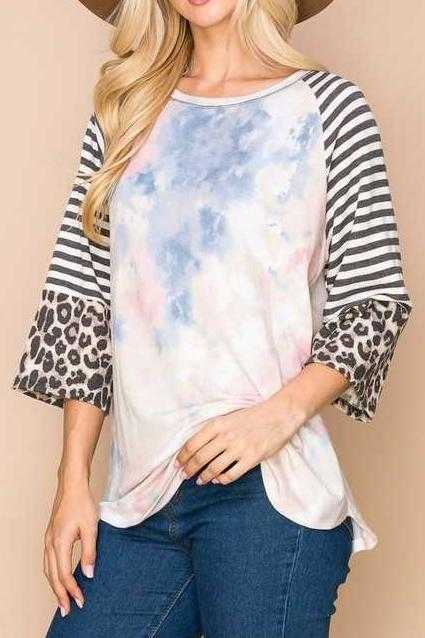 PLUS SIZE-CONTRAST SLEEVE TUNIC TOP
