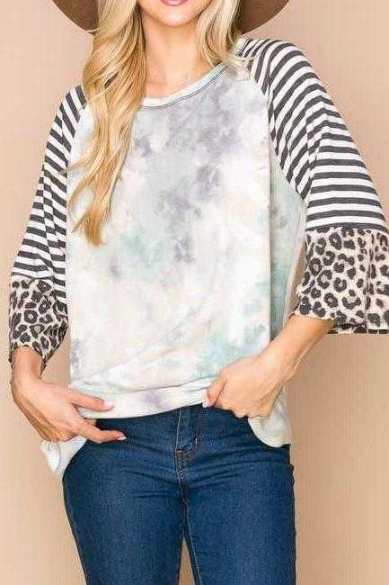 CONTRAST SLEEVE TUNIC TOP