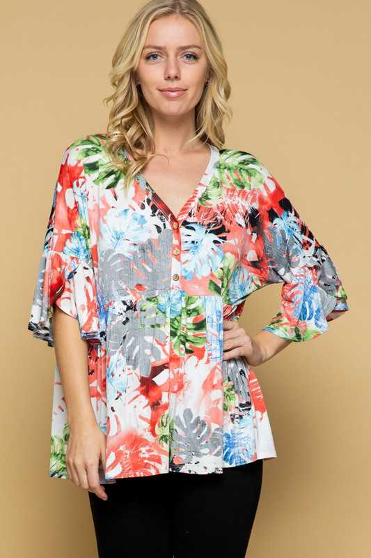 FLORAL PRINT BABY DOLL TUNIC TOP