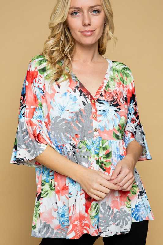 PLUS SIZE-FLORAL PRINT BABY DOLL TUNIC TOP