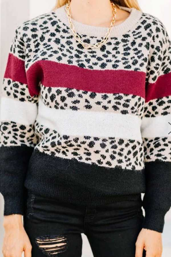 OCT 25 LEOPARD STRIPE KNIT TUNIC TOP