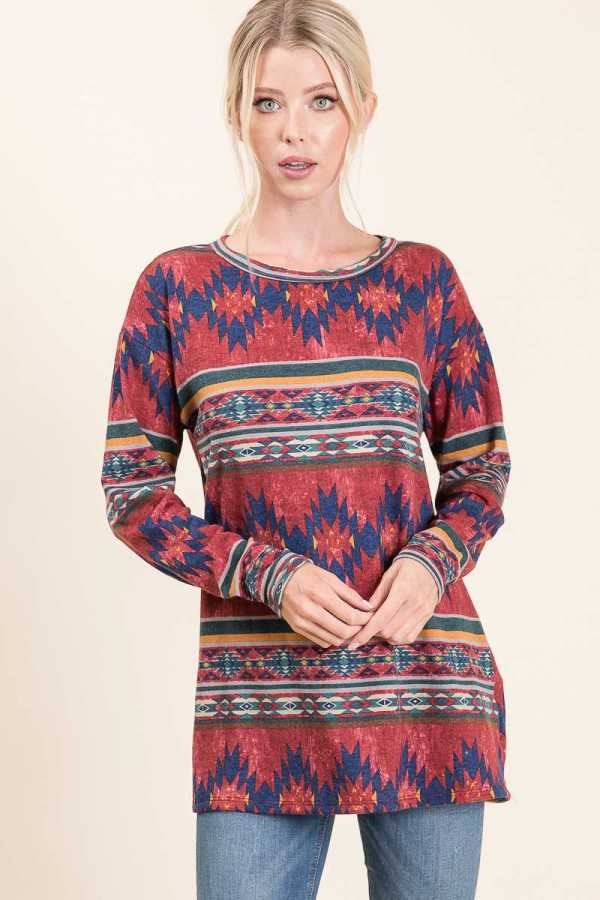PLUS SIZE AZTEC PRINT DETAILED LONG SLEEVE TOP