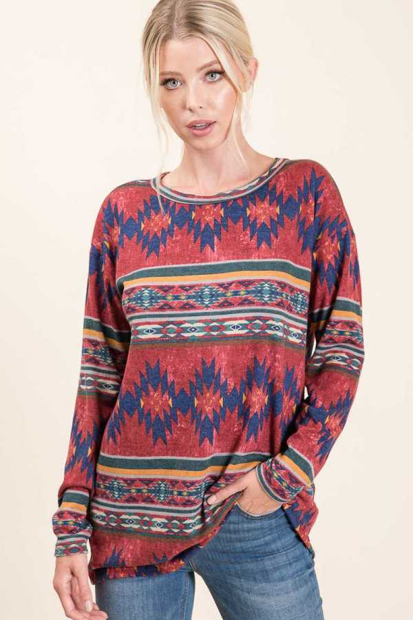 AZTEC PRINT DETAILED LONG SLEEVE TOP