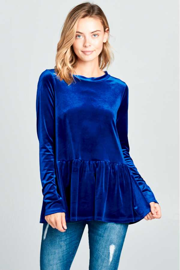VELVET SOLID ROUND NECK LONG SLEEVE BABY DOLL TOP