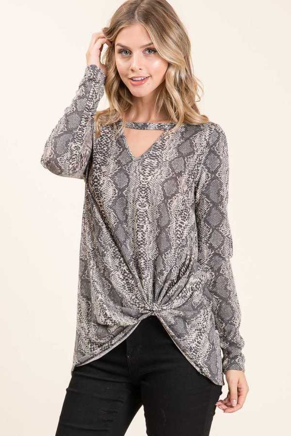 KNOTTED HEM CHEST CUTOUT SNAKESKIN PRINT TUNIC TOP