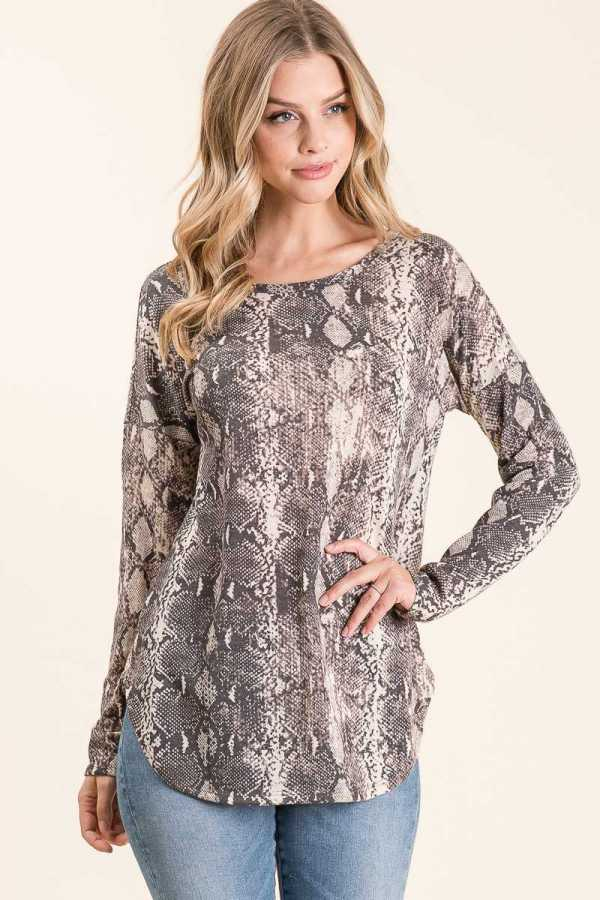 LONG SLEEVE SNAKESKIN PRINT TUNIC TOP