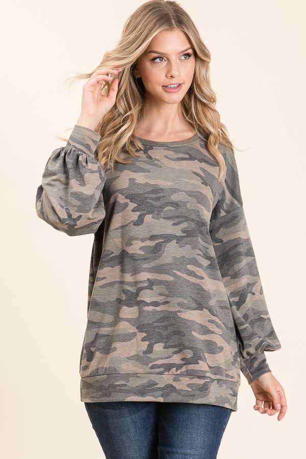 BUBBLE SLEEVE CAMOUFLAGE PRINT TOP