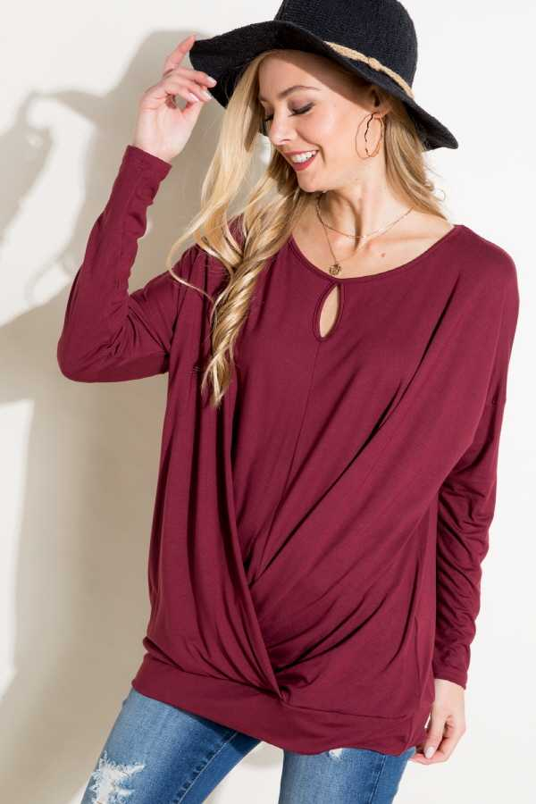 DRAPED SOLID TUNIC TOP