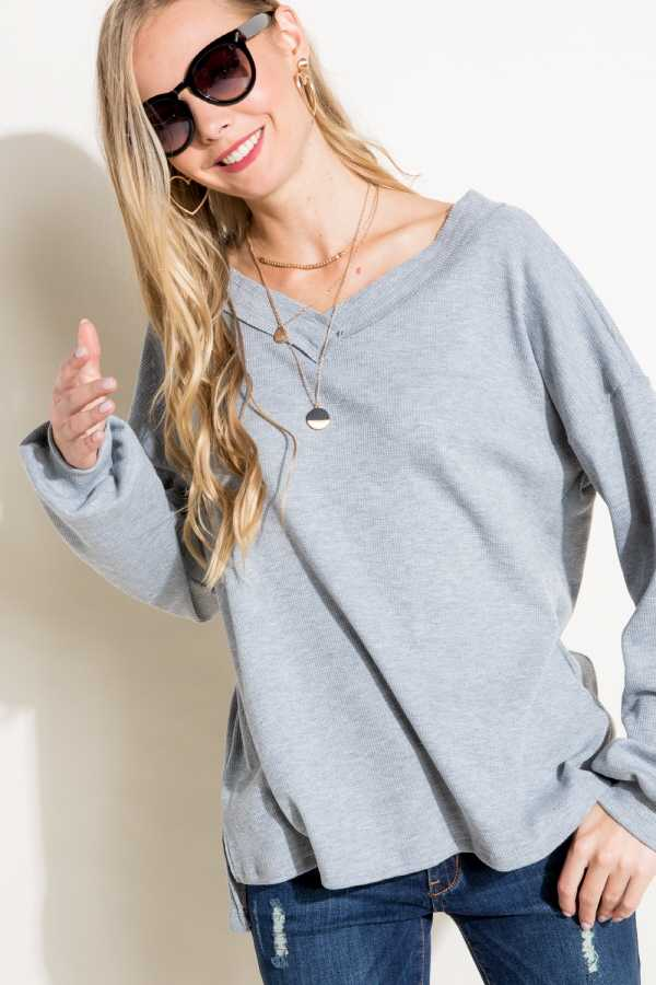 SOLID WAFFLE CUT EDGE V NECK LONG SLEEVE HIGH LOW BOXY TOP