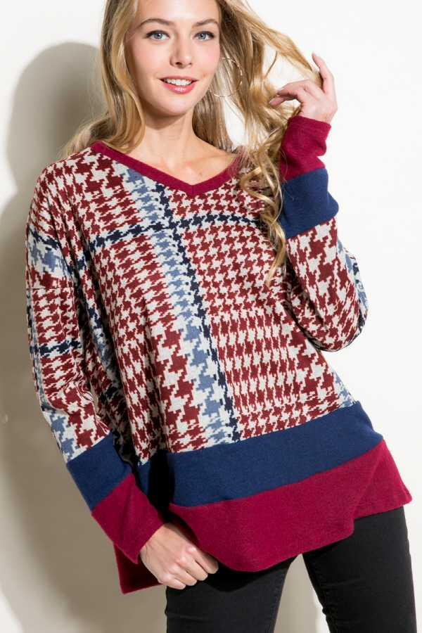 HOUNDS TOOTH PRINT COLOR BLOCKED LONG SLEEVE V NECK BOXY TOP