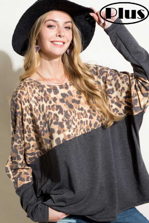 PLUS SIZE ANIMAL PRINT MIXED LONG SLEEVE ROUND NECK BOXY TOP